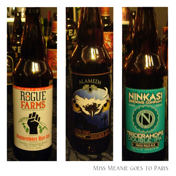 Rogue Farms - Roguenbier Rye Ale (GYO), Alameda - Barn Owl Imperial Brown Ale, Ninkasi Brewing Co. - Tricerahops Double IPA