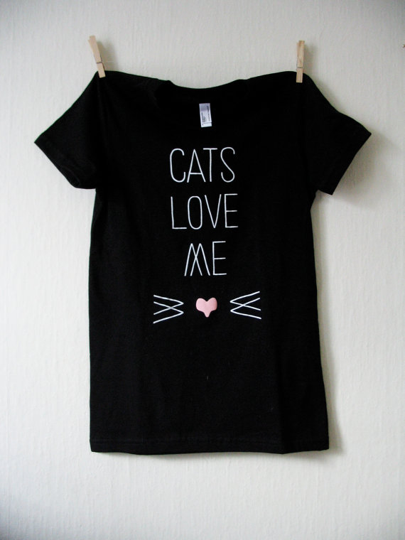Cats Love Me tee by WiderAwake on Etsy