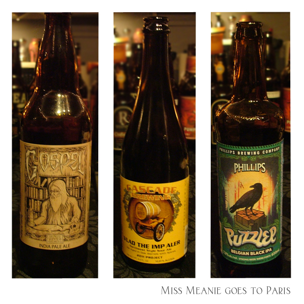 Skagit River Brewery - Gospel, India Pale Ale,  Cascade Brewing - Vlad the Imp Aler a Sour/Wild Ale beer, Phillips Brewing Co. - Puzzler Belgian Black IPA