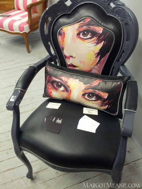 Custom upholstered and painted chair