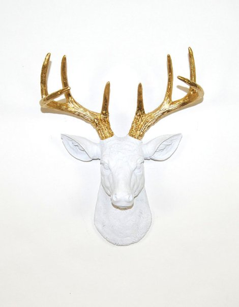 Faux Deer Mount by White Faux Taxidermy
