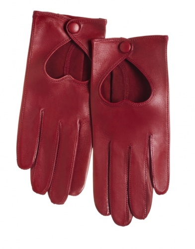 leather heart cutout gloves