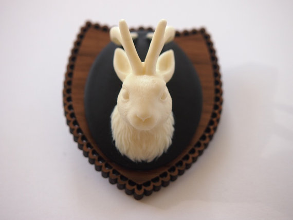Mounted Jackalope Rabbit Brooch by Hungry Designs