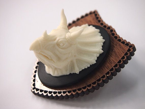 Mounted Triceratops Brooch by Hungry Designs