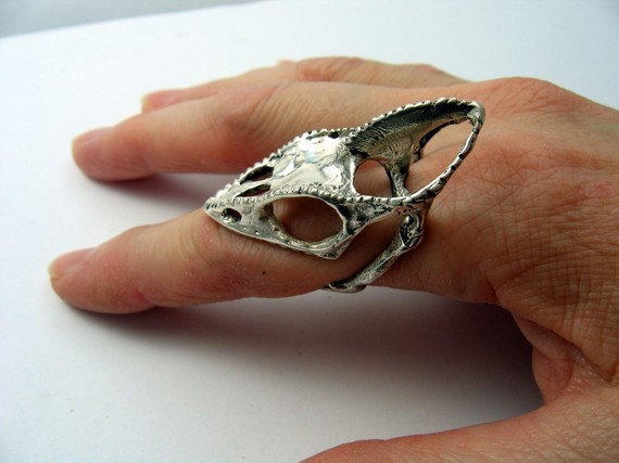 Sterling Silver Chameleon Skull by Moon Raven Designs