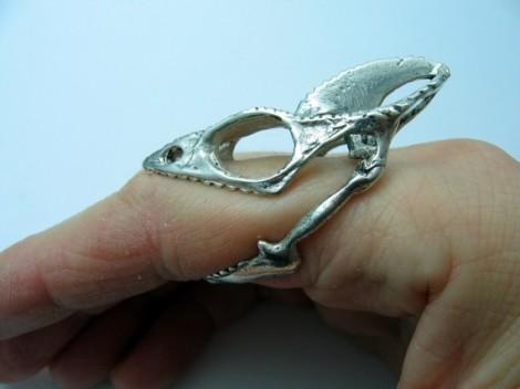 Sterling Silver Chameleon Skull Ring by Moon Raven Desings