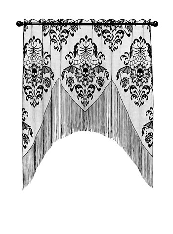 Batty Skulls Lace Window Valence