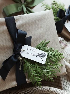 black ribbon & sprig