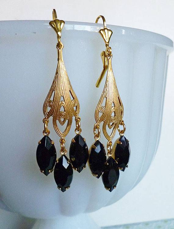 la plume noir golden brass filigree earrings