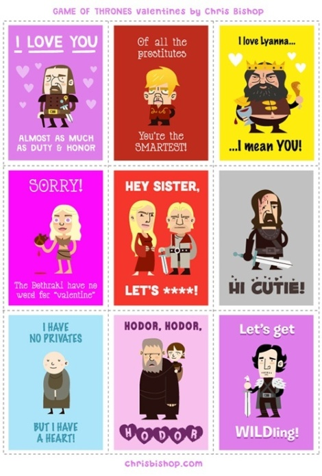 Game of Thrones valentines day cards by Chris Bishop // Friday I'm in Love // margotmeanie.com
