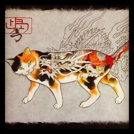 Horitomo - Cat with dragon