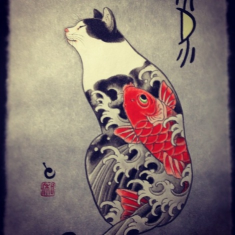 Horitomo - Cat with koi