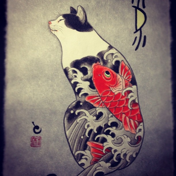 Horitomo - Cat with koi