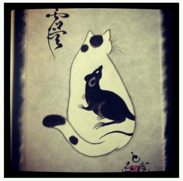 Horitomo - Cat with rat