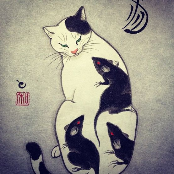 Horitomo - Rat tattoo cat