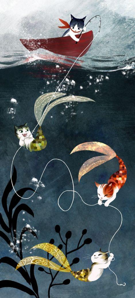 // Catfish?! Mercats?! Artist Unknown // Caturday #05 // margotmeanie.com