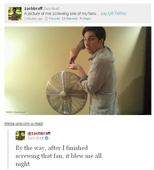 Zach Braff screwing a fan