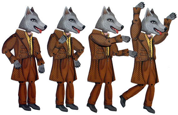 Big Bad Wolf Jointed Articulated Paper Doll DIY Craft Original Folk Art
