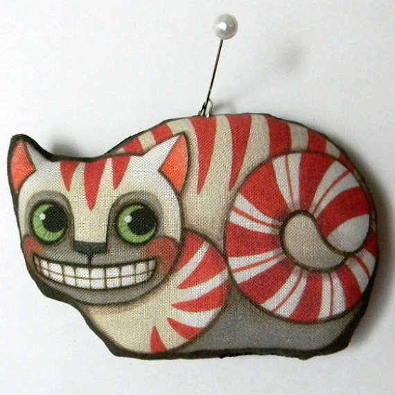Cheshire Cat Ornament-- Original Folk Art Doll-- Printed, Sewn, and Stuffed Fabric