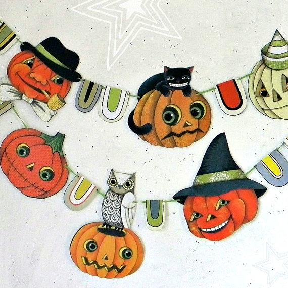 Halloween Pumpkin Jack O'Lantern Banner Garland Bunting Ornaments Decoration Original Folk Art DIY