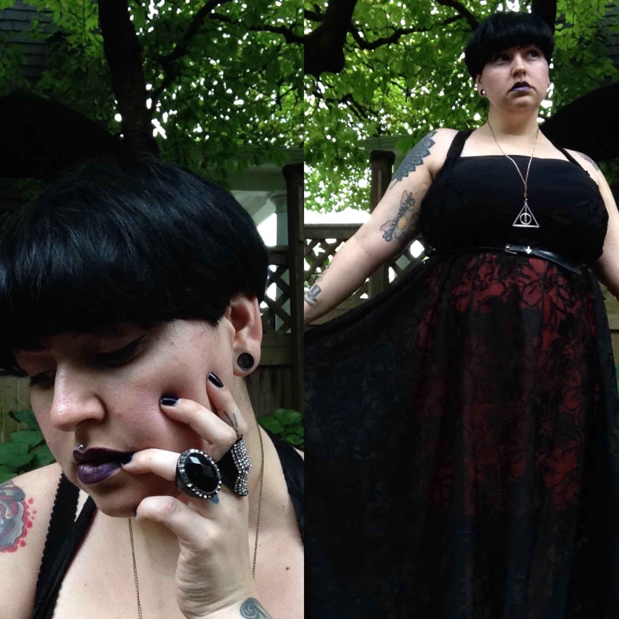 margot meanie // alternative plus size fashion blogger Margot Meanie is wearing the Dark rose dress by indie design brand Zelie for She