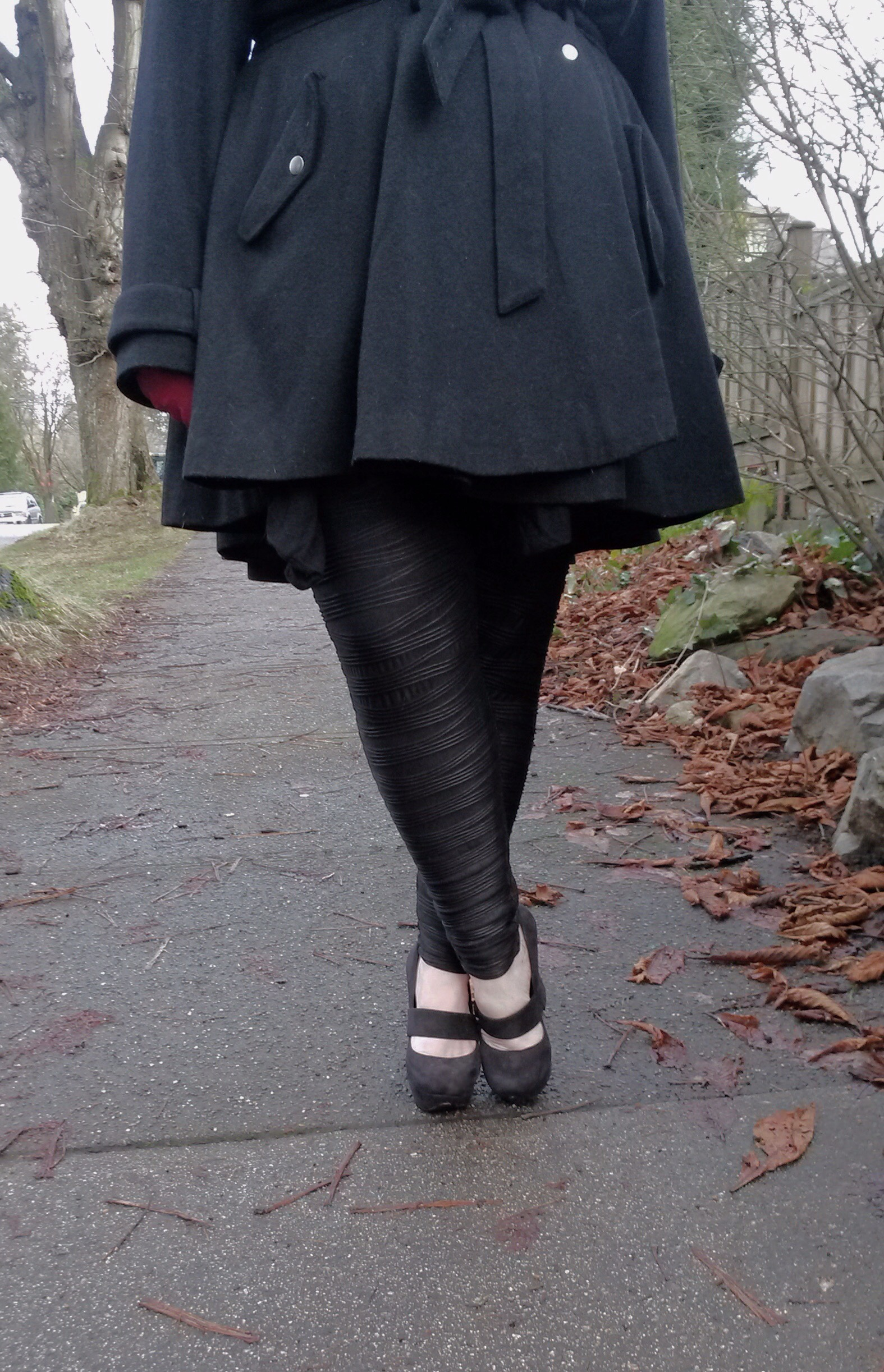 ASOS curve fit & flare coat and ASOS curve pleated leggings // margot meanie