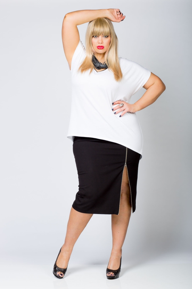 HART0225-In-the-sun-pleather-trim-T-white + Zip me Up Pencil Skirt